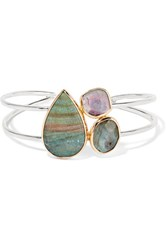Melissa Joy Manning 14 Karat Gold And Sterling Silver Multi Stone Cuff