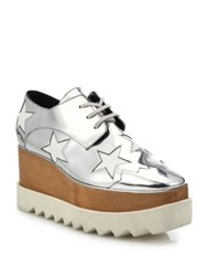 Stella Mccartney Elyse Metallic Star Platform Oxfords Dust Natural Silver