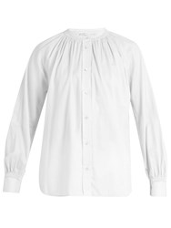 Vince Oversized Gathered Detail Cotton Shirt White
