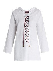 Albus Lumen Hooded Lace Up Linen Shirt White