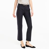 J.Crew Petite Cropped Wool Pant With Satin Tux Stripe