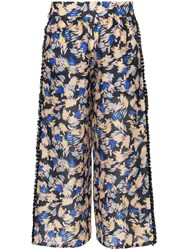 A Peace Treaty Yuna Print Silk Linen Blend Cropped Trousers Multicolour