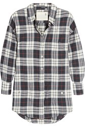 R 13 R13 Wrap Effect Plaid Cotton Blend Shirt Navy