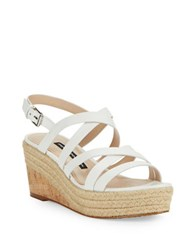 French Connection Liya Strappy Wedge Sandals White