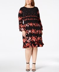 Alfani Plus Size Floral Stripe Ruffled Dress Created For Macy's Floral Swing Stripe