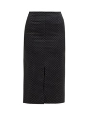 Erdem Retta Polka Dot Cotton Blend Pencil Skirt Black White