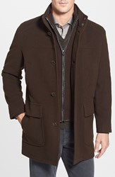 Cole Haan Men's Wool Blend Top Coat With Inset Bib Espresso