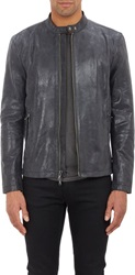 John Varvatos Star U.S.A. Oiled Nubuck Motorcycle Jacket Black Size L