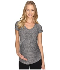 Beyond Yoga V Neck Maternity Tee Black White Spacedye Women's T Shirt Gray