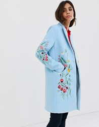 Y.A.S Floral Embroidered Tailored Coat Blue