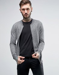 Asos Knitted Cotton Bomber Jacket In Muscle Fit Black And White Twist Grey
