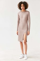 Silence And Noise Mock Neck Bodycon Midi Dress Taupe