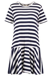 Bench Jersey Dress Bright White Maritime Blue Off White