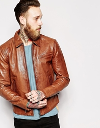 Nudie Jeans Nudie Leather Jacket Dean Tan Biker Brown