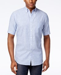 Club Room Men's Edgewood Striped Short Sleeve Shirt Only At Macy's Lazulite
