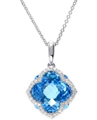Effy Collection Effy Blue Topaz 7 1 3 Ct. T.W. And Diamond 1 5 Ct. T.W. Clover Pendant In 14K White Gold