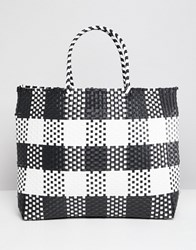 Warehouse Shopper Bag In Check Blue