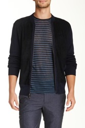John Varvatos Suede Panel Ribbed Knit Jacket Blue