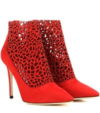 Jimmy Choo Maurice 100 Cut Out Suede Ankle Boots Red