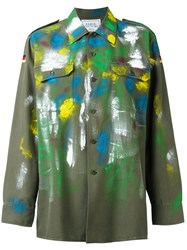 Forte Couture Paint Mark Military Jacket Green