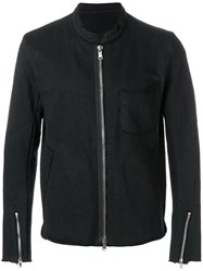 The Viridi Anne Jersey Biker Jacket Cotton Black