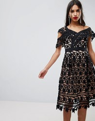 Adelyn Rae Whitney One Shoulder Lace Dress Black Nude