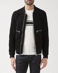 Ikks Black Zippered Suede Pocket Jacket