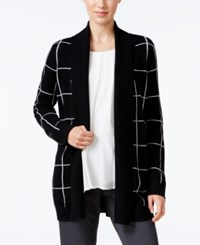 Charter Club Cashmere Windowpane Print Cardigan Only At Macy's Classic Black