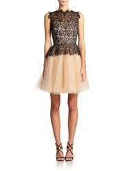 Nha Khanh Karla Organic Lace And Tulle Peplum Dress Black Nude