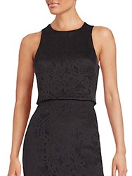 Rebecca Taylor Die Cut Mesh Cropped Top Black
