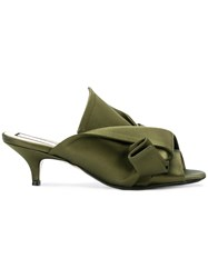 N 21 No21 Low Heel Abstract Bow Mules Green
