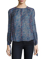 Rebecca Taylor Lindsy Floral Silk Blouse Coral Grey