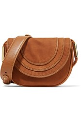 Diane Von Furstenberg Bullseye Mini Nubuck Shoulder Bag Tan