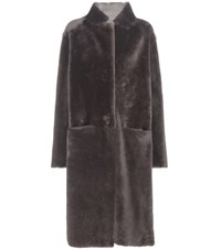Ines And Marechal Alarme Dorena Shearling Coat Grey