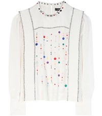 Isabel Marant Fawna Embroidered Silk Blouse White