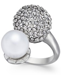 Inc International Concepts Silver Tone Pave Dome And Imitation Pearl Ring Only At Macy's
