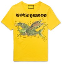 Gucci Embellished Printed Cotton Jersey T Shirt Yellow