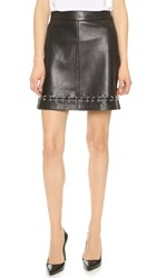 The Kooples Leather Skirt With Ring Details Black