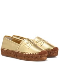 Dolce And Gabbana Metallic Leather Espadrilles Gold