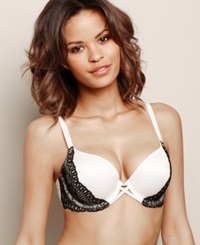 Maidenform Custom Lift Tailored Extra Coverage Bra Dm9400 Ivory Black Lace