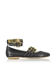 Moschino Black Leather Flat Ballerinas W Golden Buckles And Signature Logo