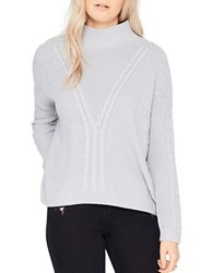 Miss Selfridge Cable Knit Textured Mock Turtleneck Sweater Grey