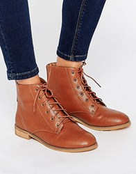 Asos Angel Lace Up Ankle Boots Tan