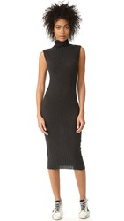 Enza Costa Ribbed Sleeveless Turtleneck Midi Dress Charcoal