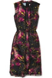 Prada Floral Print Jersey And Organza Midi Dress Black