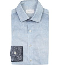 Duchamp Ombre Print Tailored Fit Cotton Shirt Blue