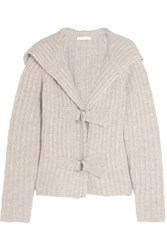 See By Chloe Hooded Chunky Knit Cardigan Light Gray
