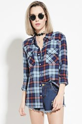 Forever 21 Tartan Plaid Shirt Navy Light Blue