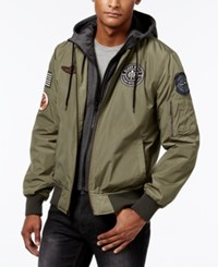 American Rag Men's Hooded Bomber Jacket Only At Macy's Dusty Olive
