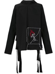 Black Fist Flaming Cross Hoodie Black